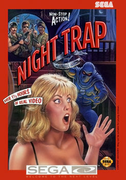 The original box art for the Sega CD version of Night Trap.